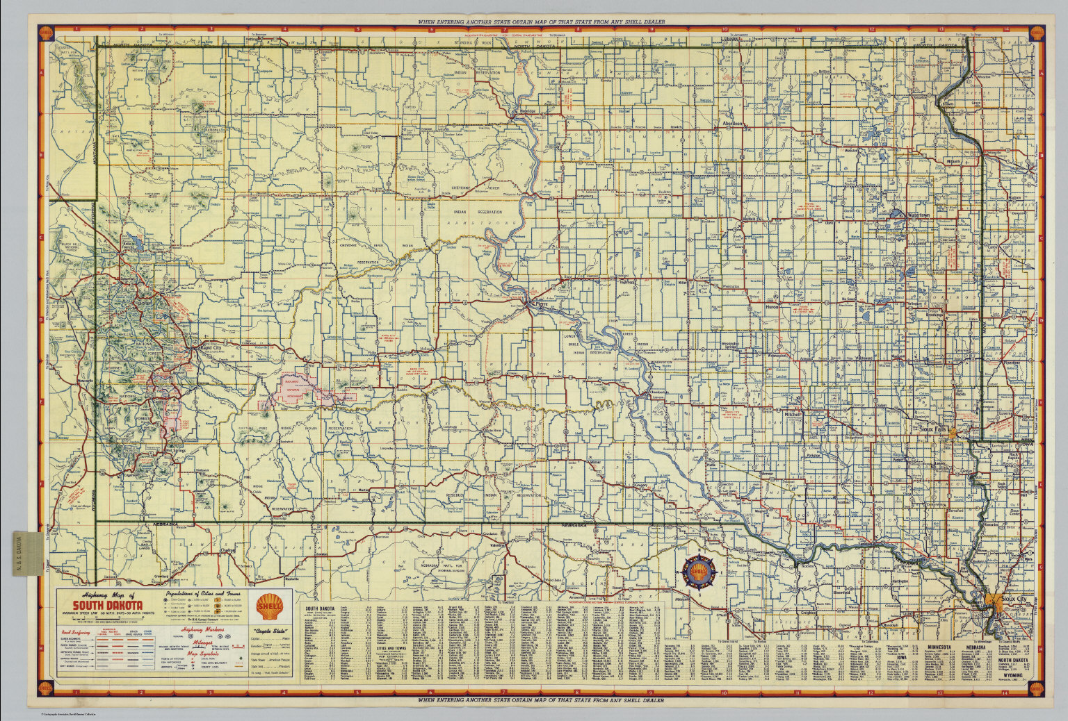 Shell Highway Map Of South Dakota David Rumsey Historical Map - Road map of south dakota