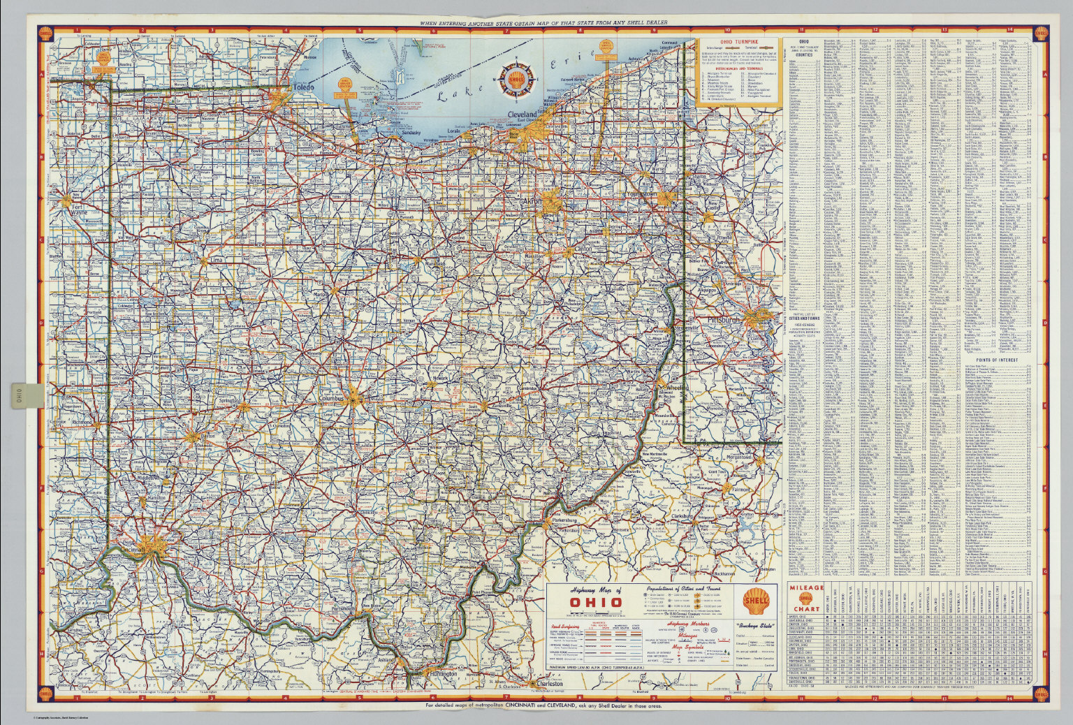 Shell Highway Map Of Ohio David Rumsey Historical Map Collection - Ohio road map