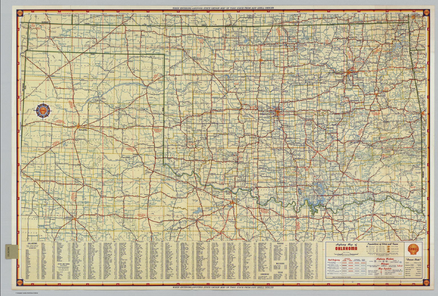 Shell Highway Map Of Oklahoma David Rumsey Historical Map - Oklahoma highways map