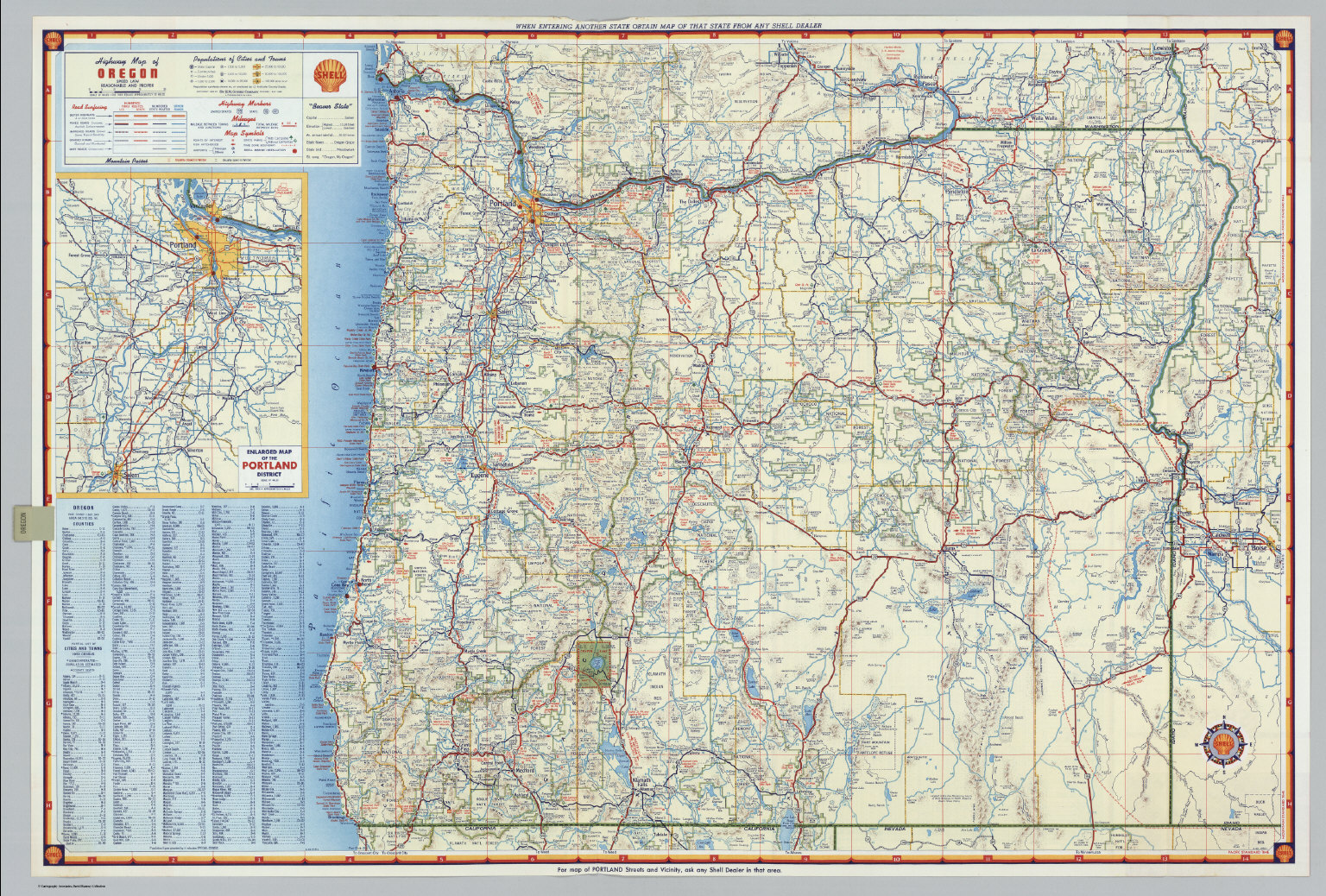 Shell Highway Map Of Oregon David Rumsey Historical Map Collection - Oregon road maps