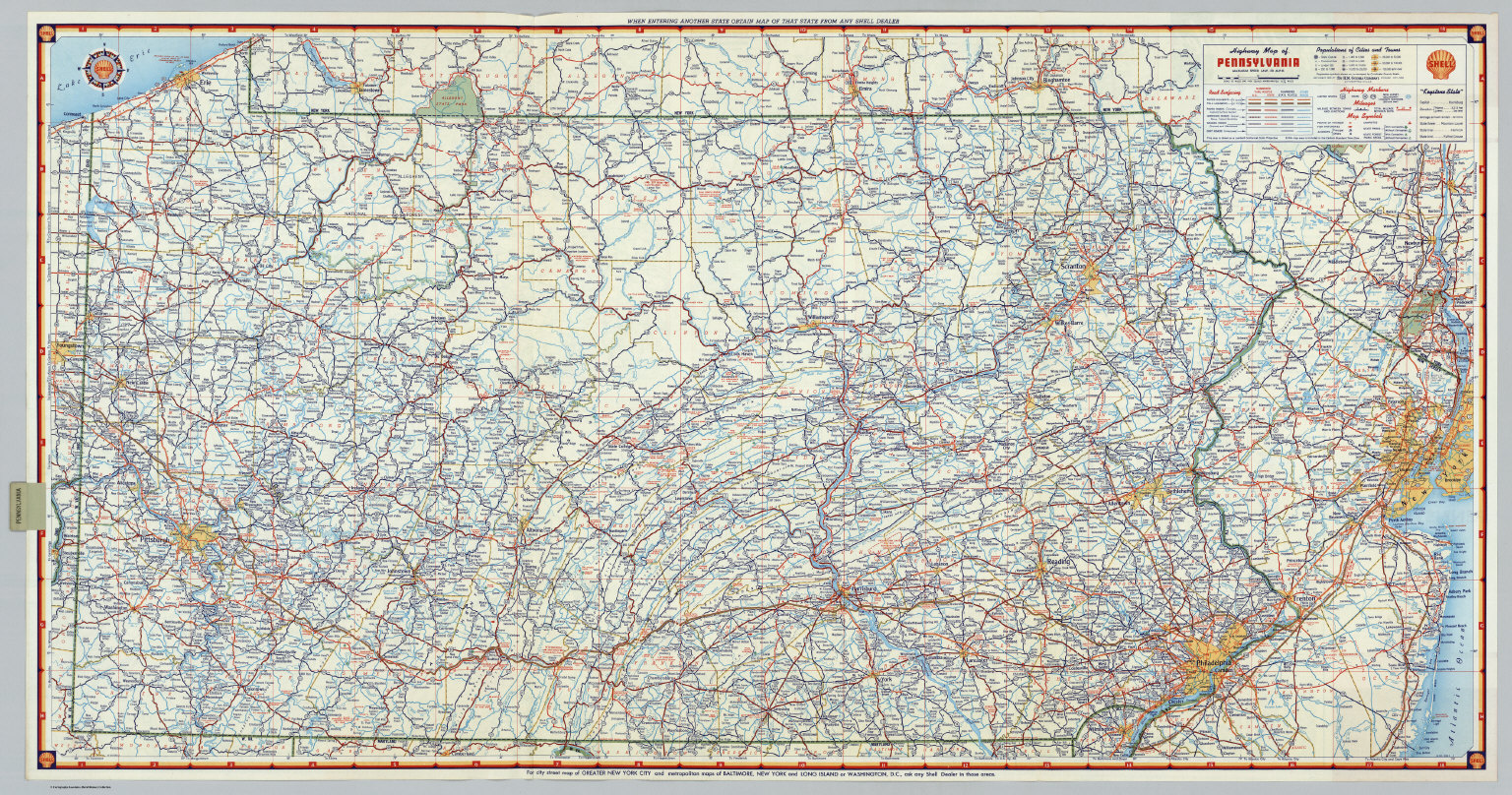 Shell Highway Map Of Pennsylvania David Rumsey Historical Map - Pennsylvania road map