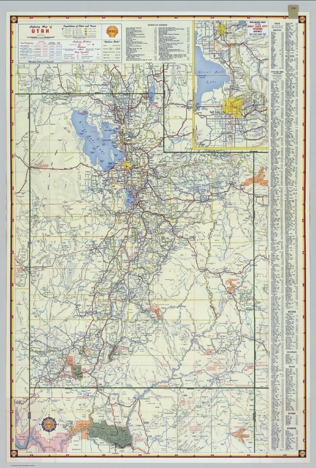 Shell Highway Map Of Utah David Rumsey Historical Map Collection - Road map of utah