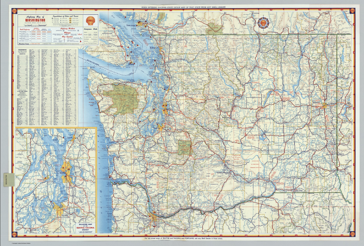 Shell Highway Map of Washington David Rumsey Historical Map