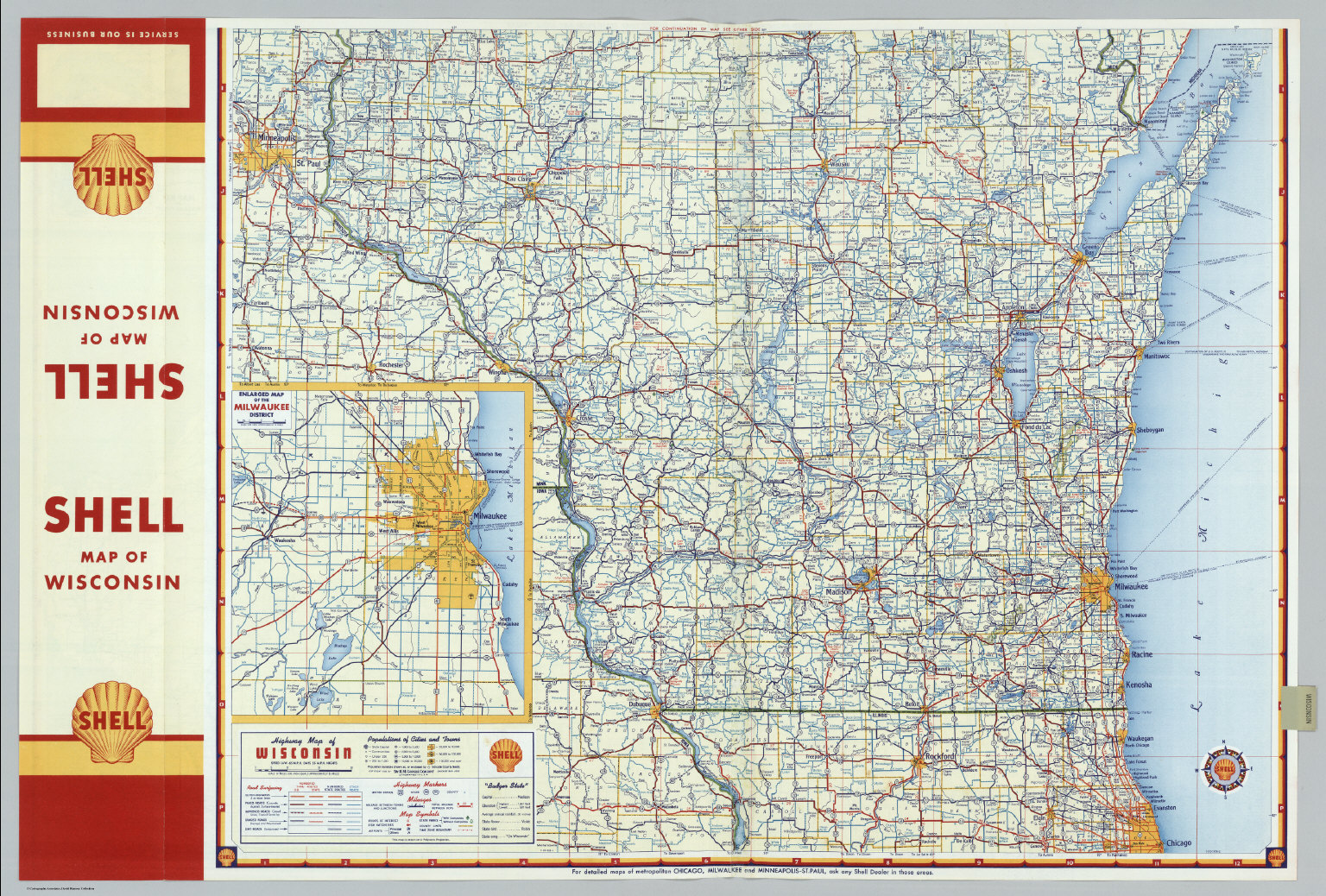 Shell Highway Map Of Wisconsin Northern Portion David Rumsey - Wi road map