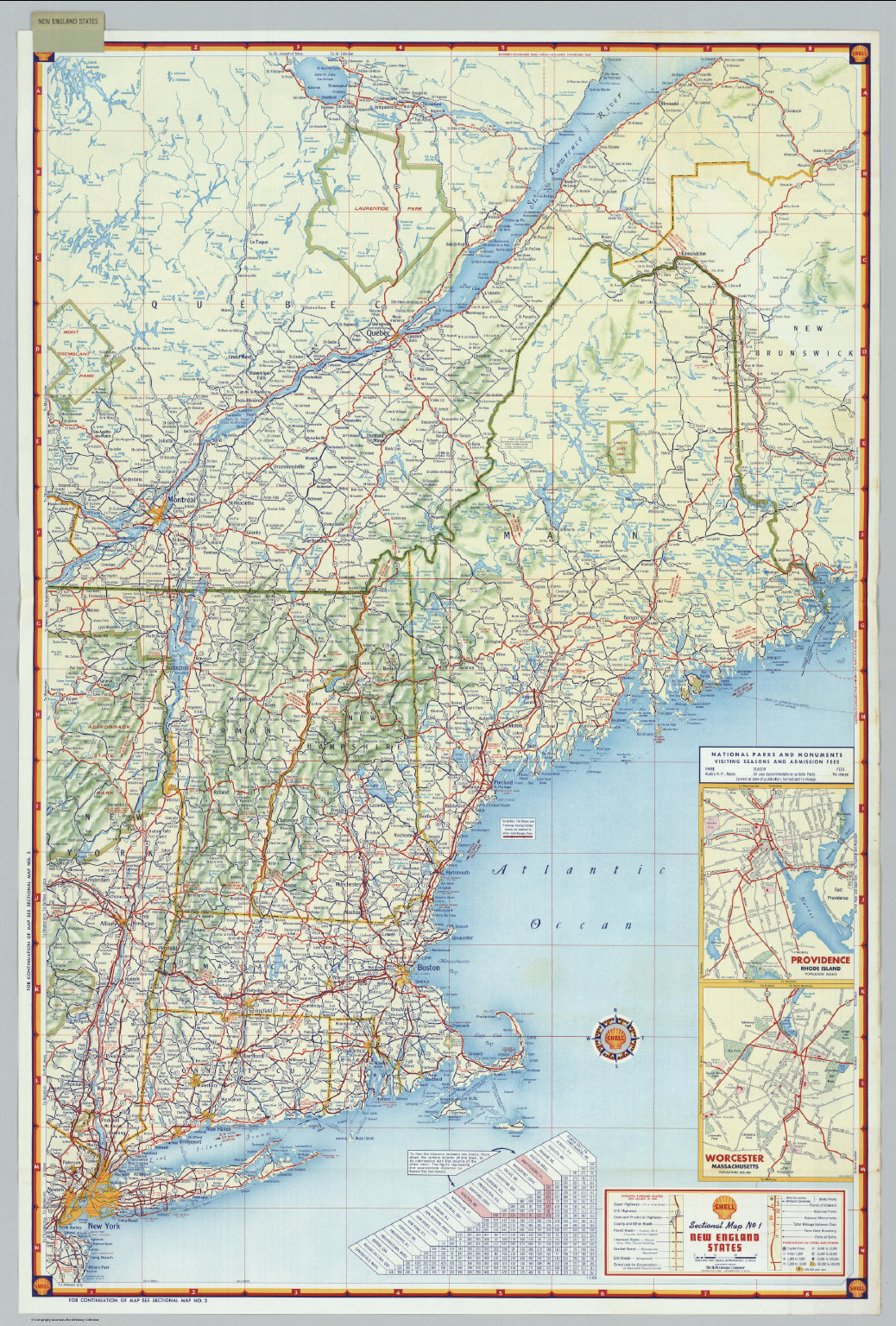 Shell Sectional Map No 1  New England States  David Rumsey