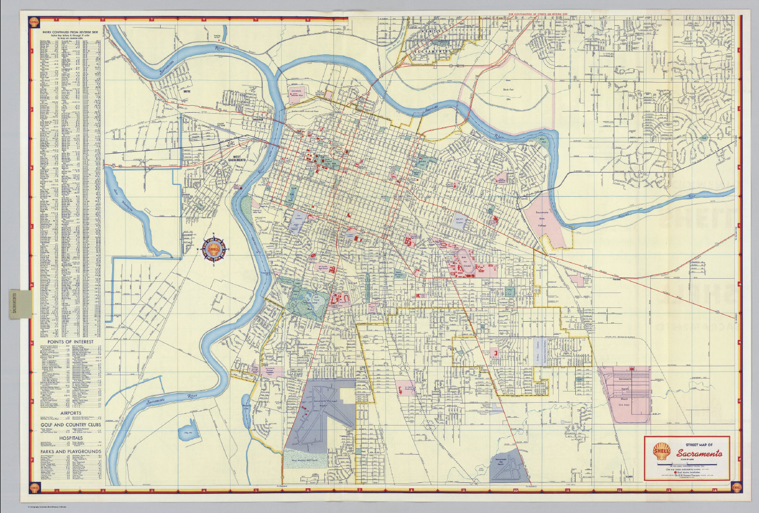 shell street map of sacramento david rumsey historical map