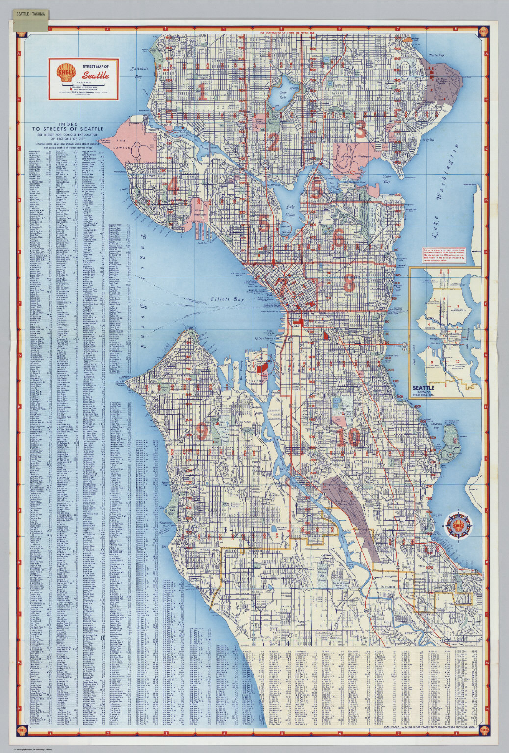 shell street map of seattle david rumsey historical map collection