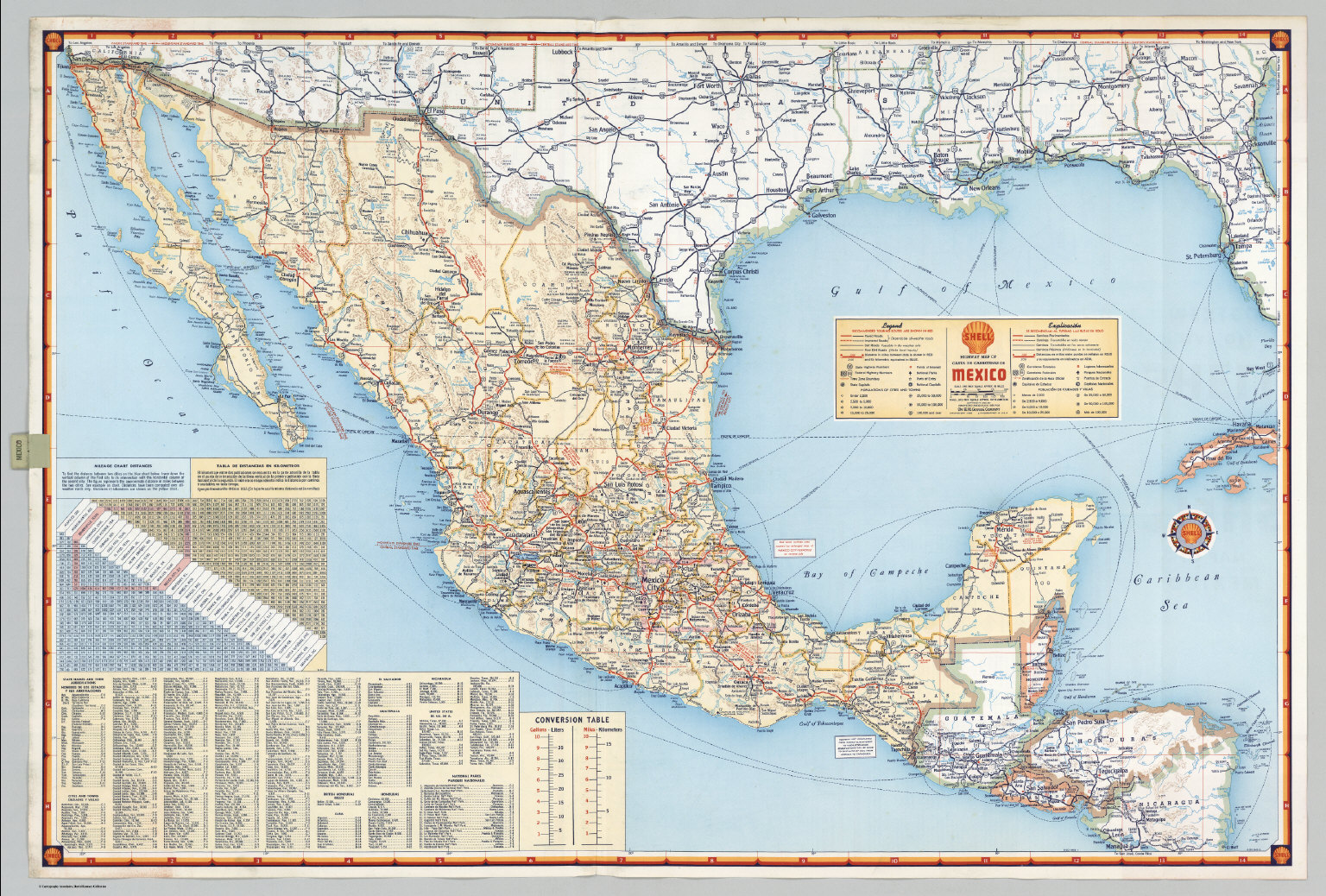 Shell Highway Map Of Mexico David Rumsey Historical Map Collection - Mexico road map