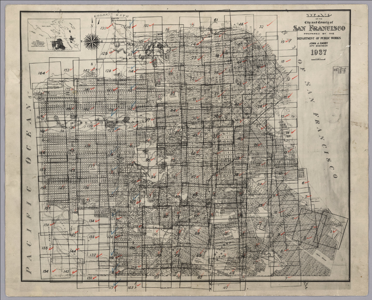 Index Map to San Francisco Aerial Views David Rumsey Historical