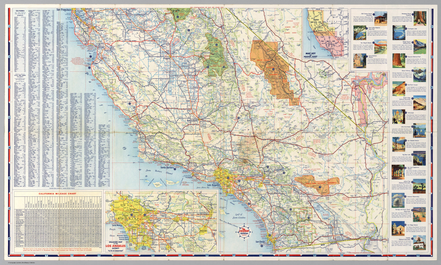 South Half Road Map Of California David Rumsey Historical Map - Ca road map
