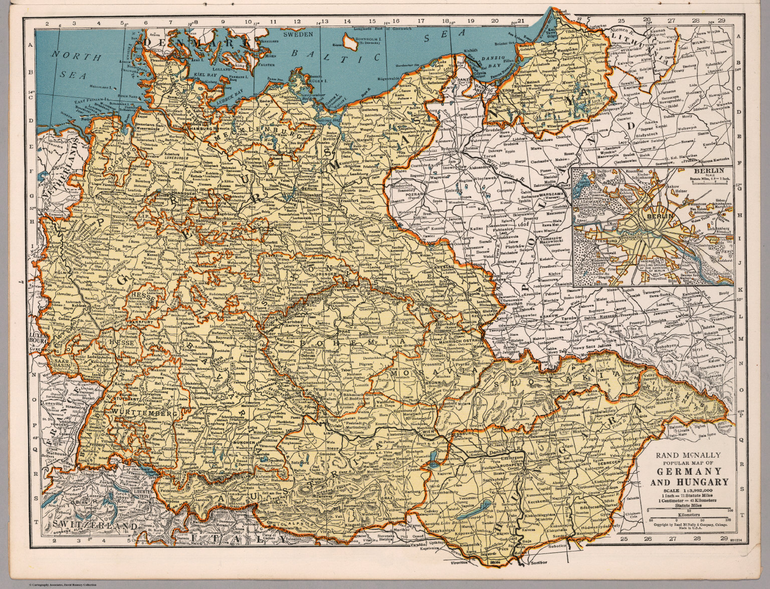 Rand McNally Popular Map Of Germany And Hungary David Rumsey - Germany map view