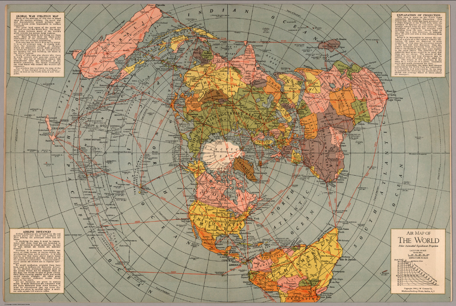 map of the world polar azimuthal equidistant projection david