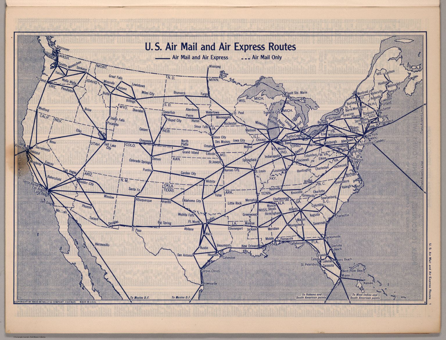US Air Mail And Air Express Routes David Rumsey Historical Map - Us air map