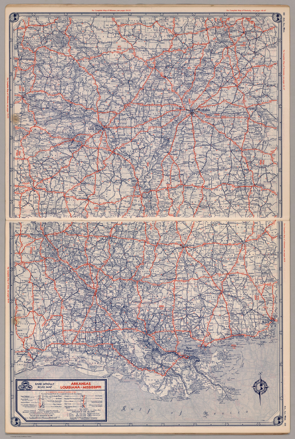 Road Map Of Arkansas Louisiana Mississippi David Rumsey - Mississippi highway map