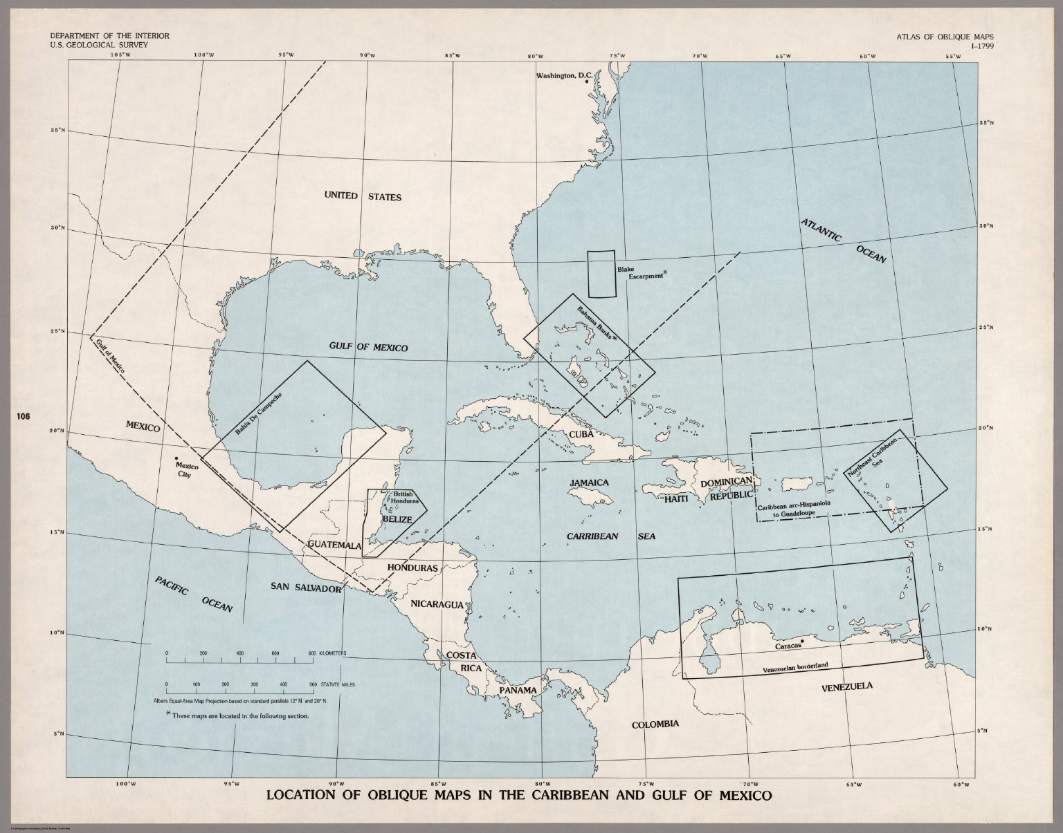 Index Map Location of Oblique Maps in the Caribbean and the Gulf