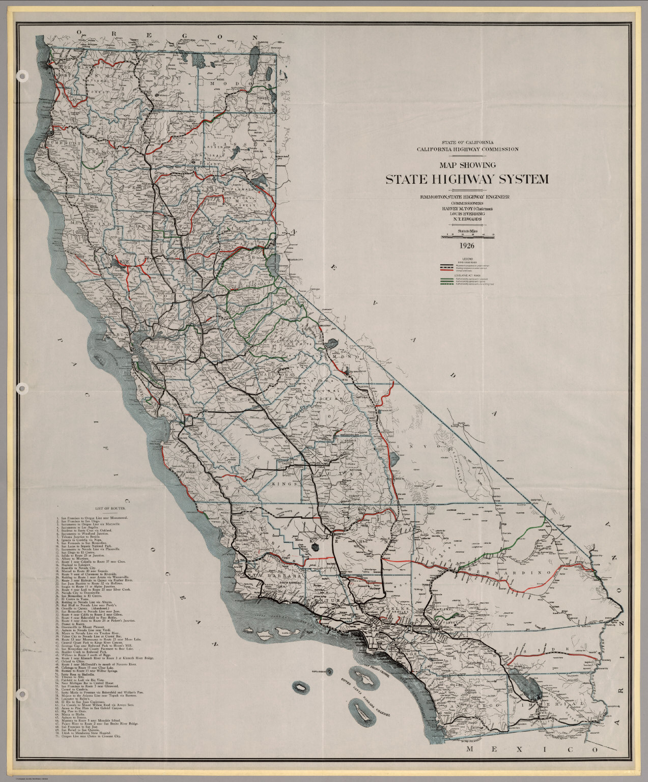 Map Showing State Highway System California David - Highway map of california