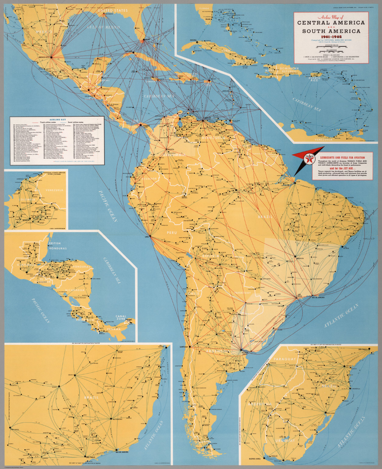 airline map of central america and south america 1961 1962
