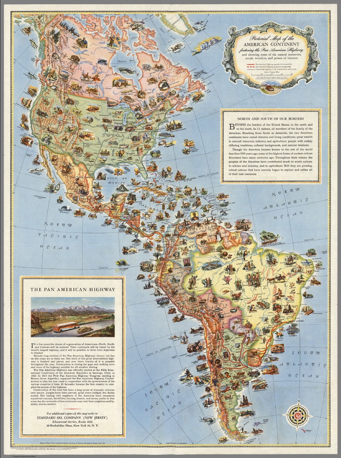 Pictorial Map Of The Americas Featuring The Pan American Highway - Argentina highway map