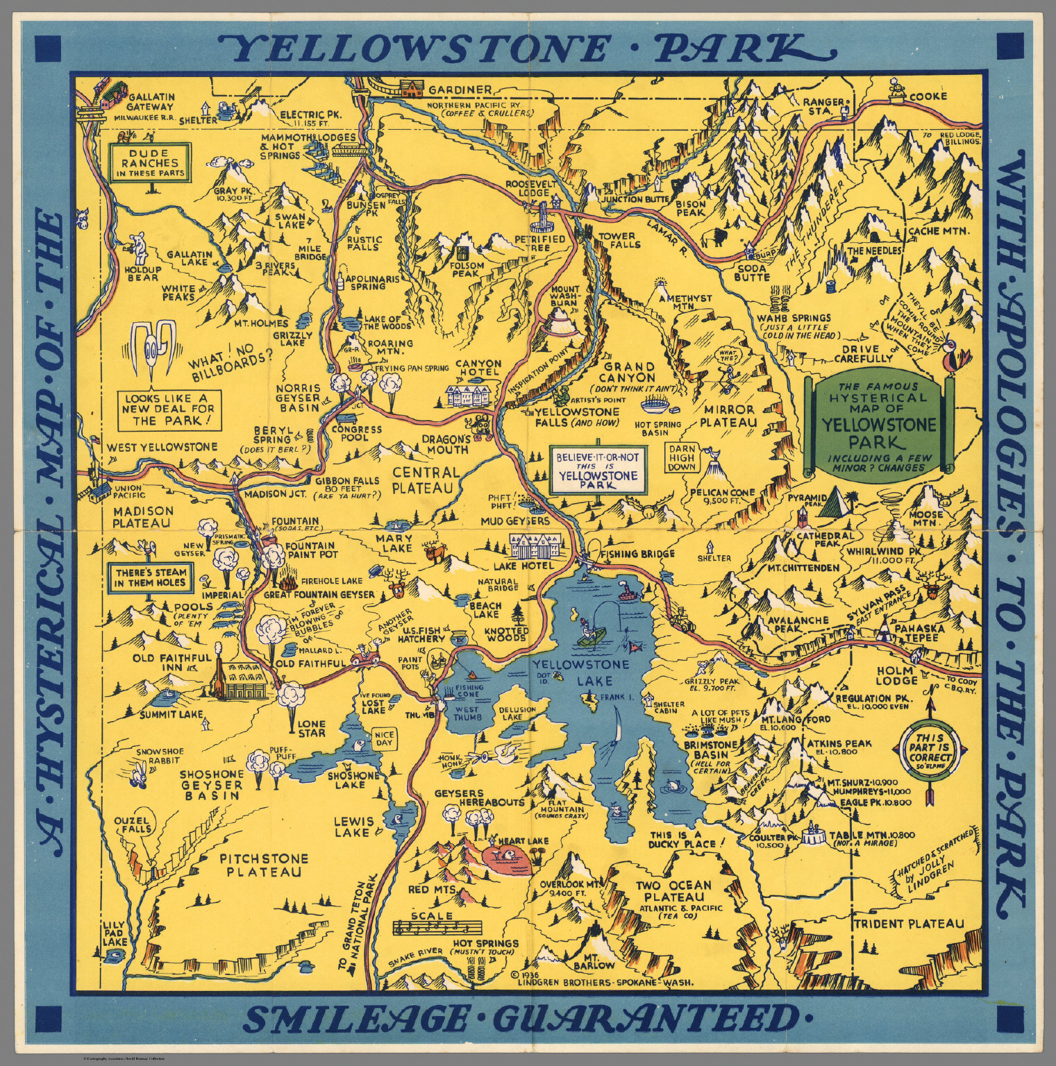 A Hysterical Map Of The Yellowstone Park With Apologies To The - Yellowstone map