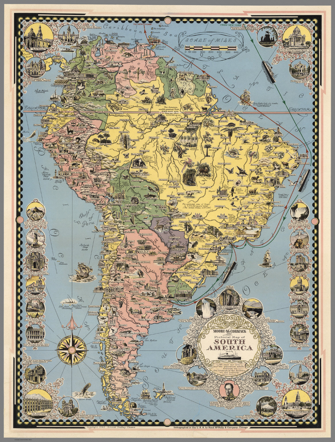 moore mccormack lines pictorial map of south america david