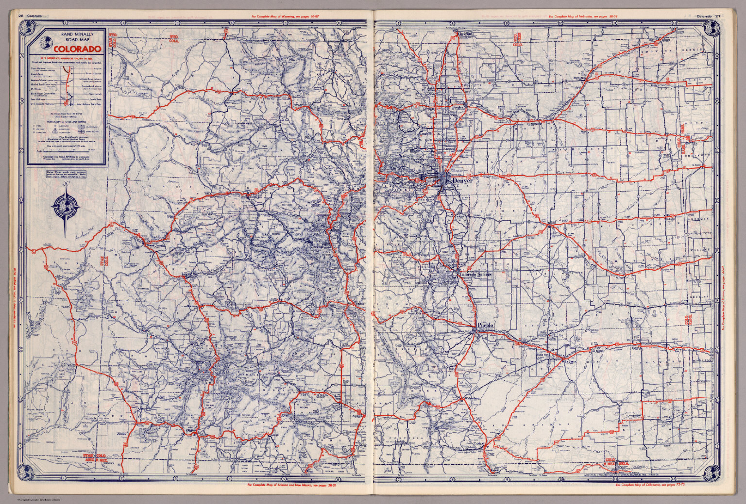 Rand McNally Road Map Colorado David Rumsey Historical Map - Colorado road map