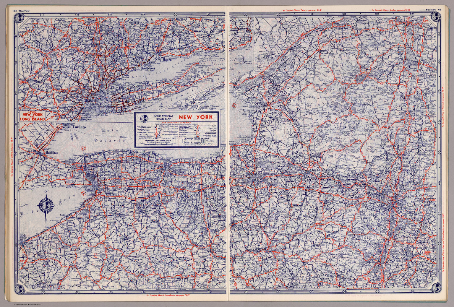 Rand McNally Road Map New York David Rumsey Historical Map - Road map of new york state