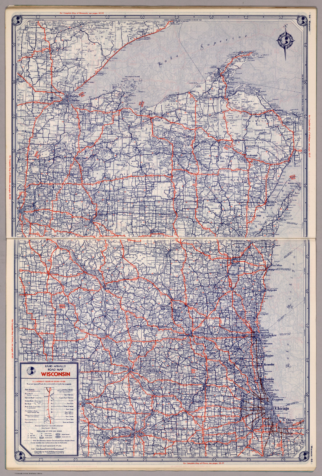 Rand McNally Road Map Wisconsin David Rumsey Historical Map - Wi road map