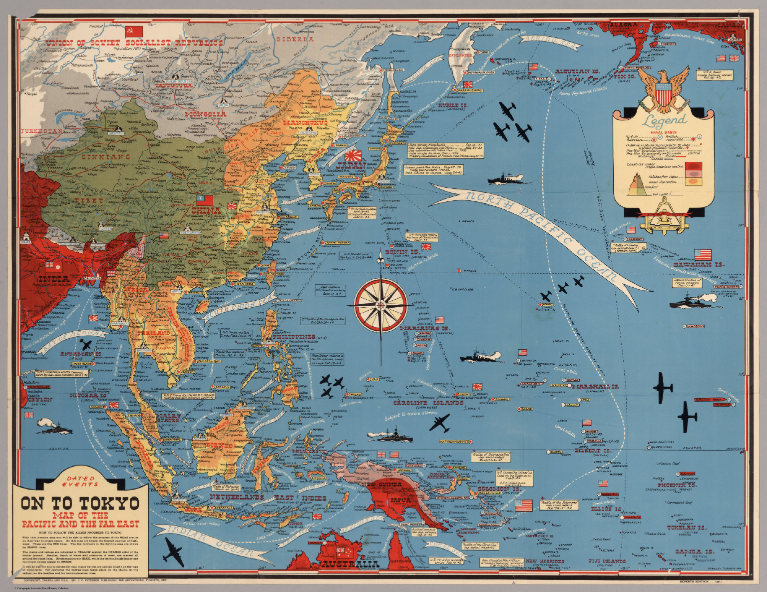 Dated Events On To Tokyo Map of the Pacific and the Far East
