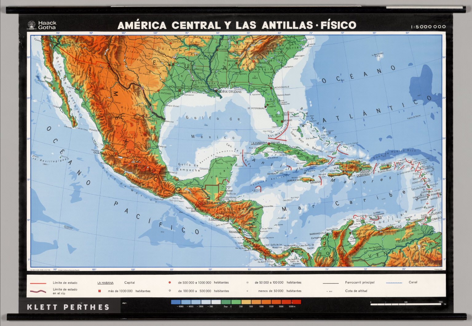 Central America The Antilles  Physical  David Rumsey