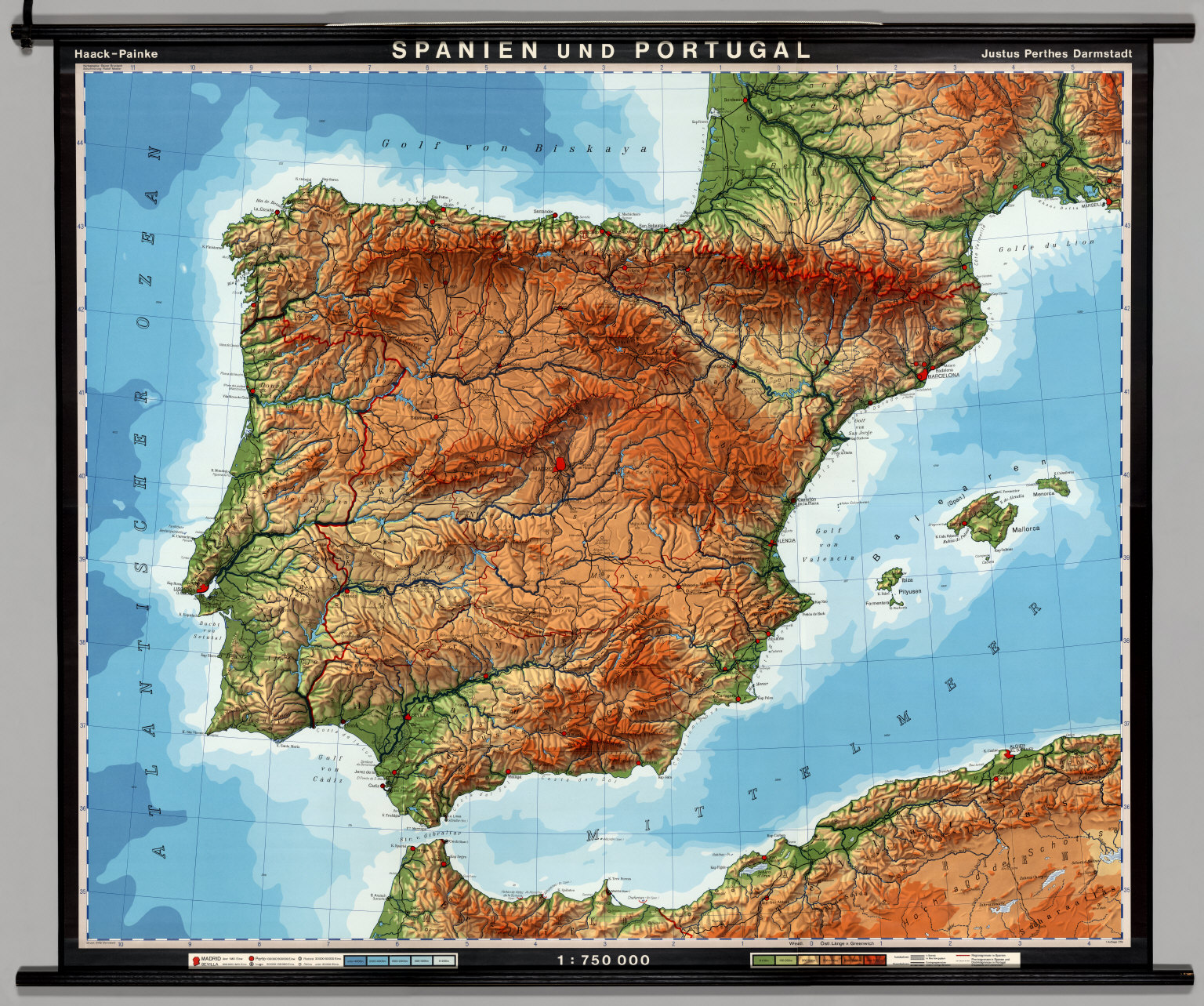 Spain Portugal PhysicalPolitical David Rumsey Historical - Spain historical map