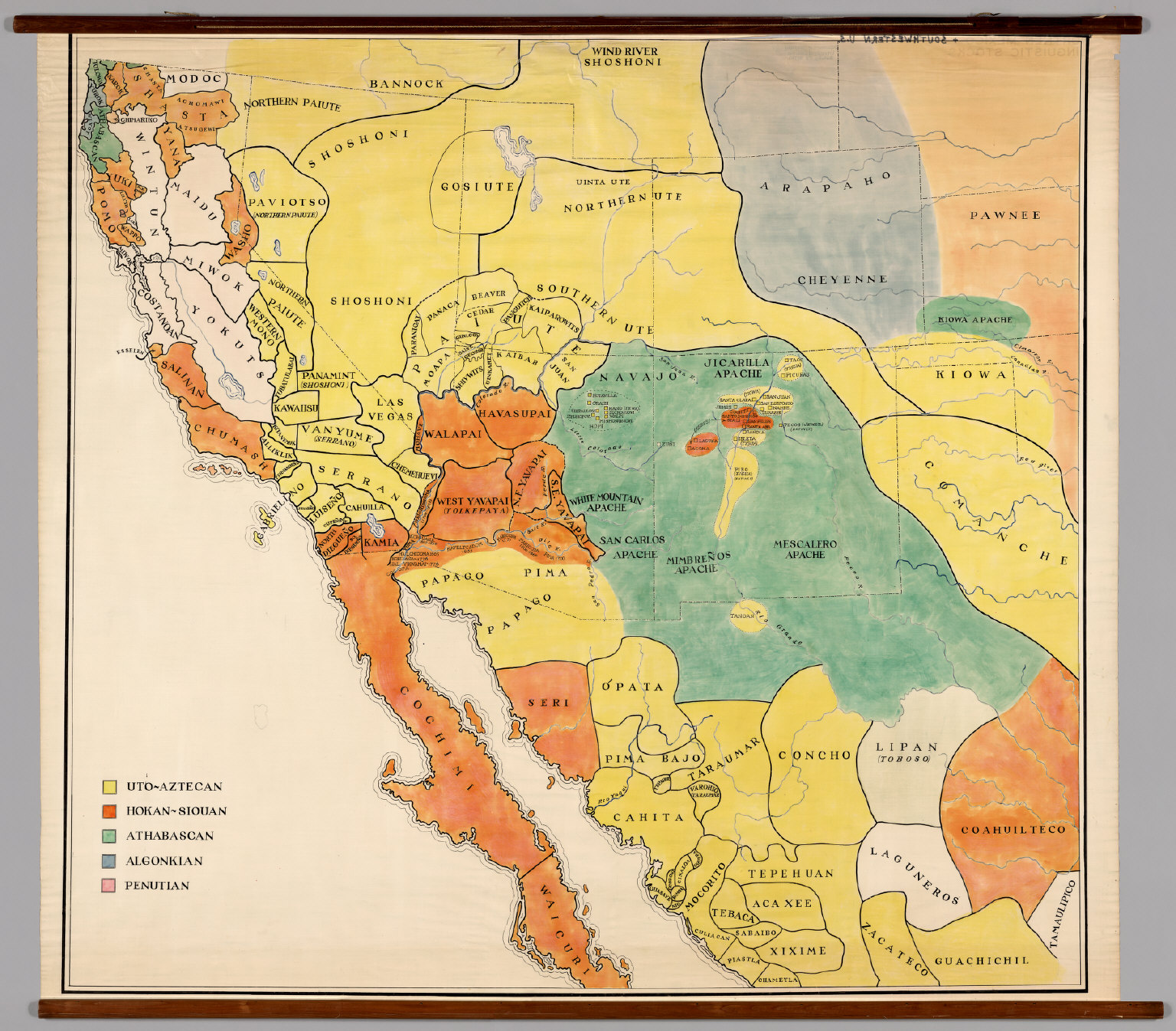 Southwestern United States Northern Mexico Linguistic Stocks - Map of south western us