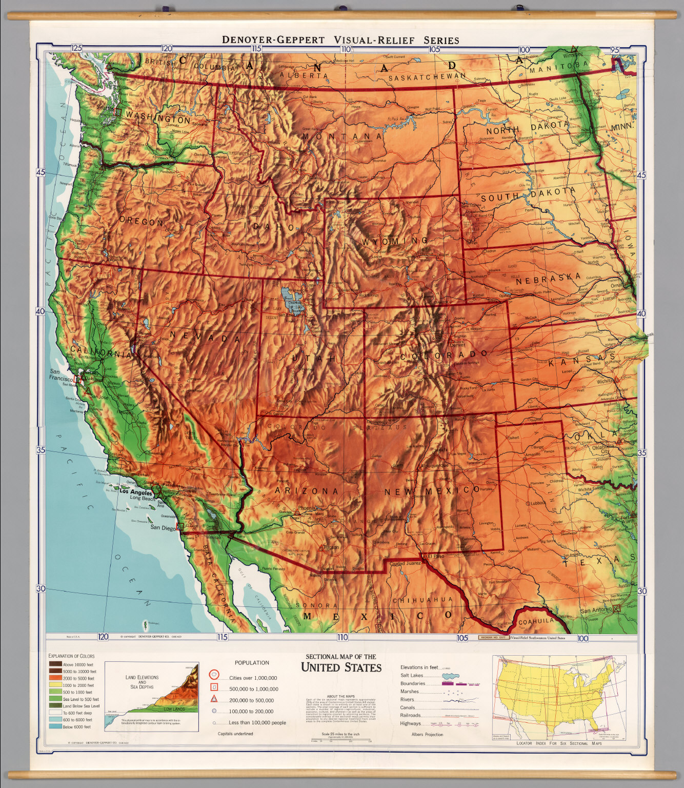 United States Western PhysicalPolitical David Rumsey - Map of west us states
