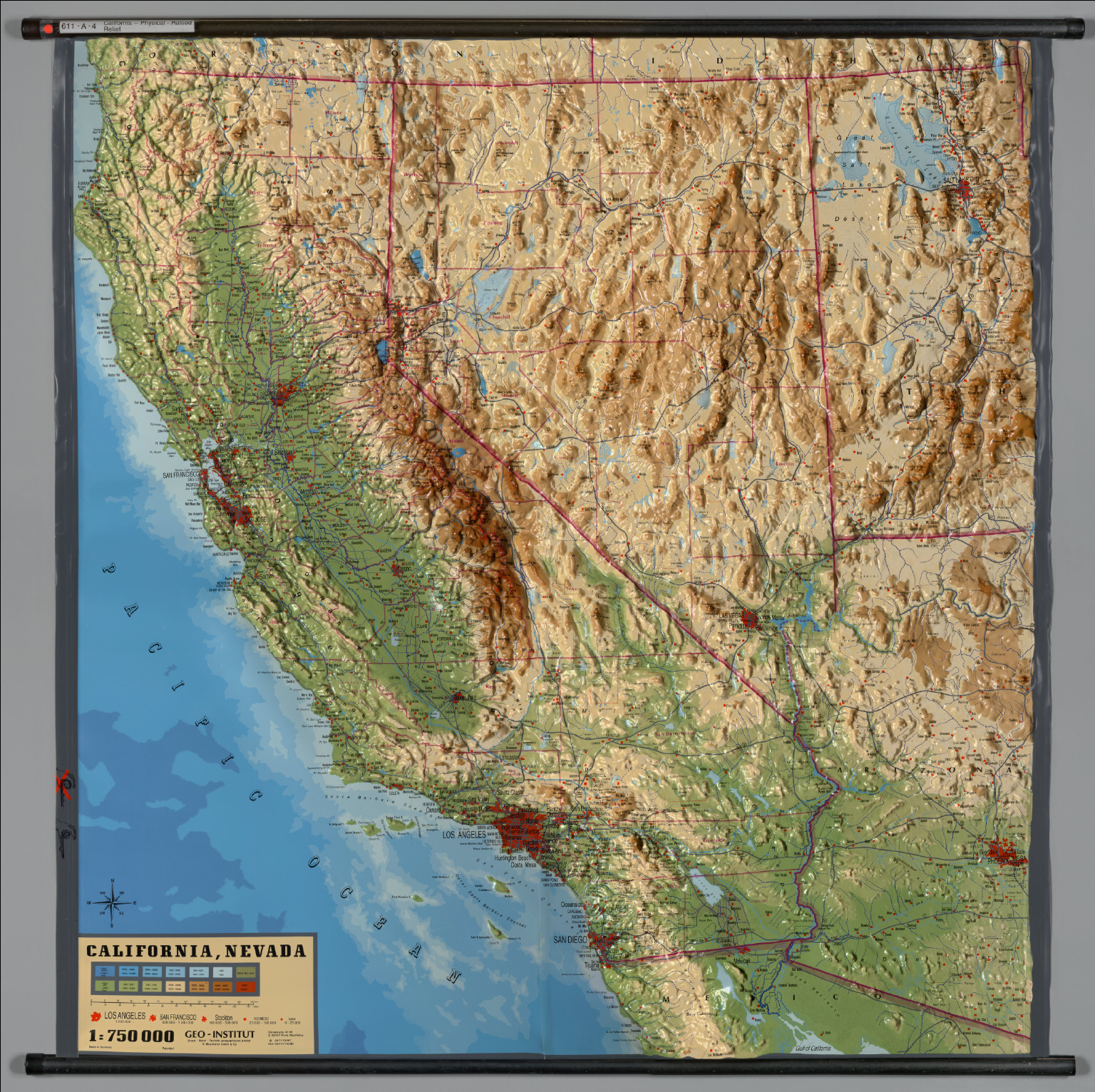 California Physical Raised Relief David Rumsey Historical - Raised relief map