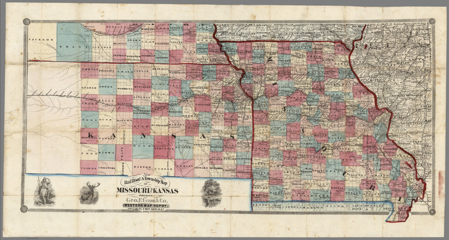 New Rail Road Township Map Of Missouri And Kansas David Rumsey - Road map of kansas