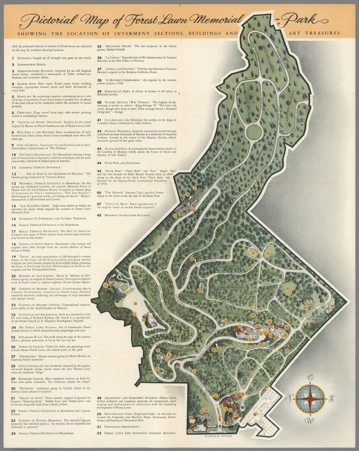 Pictorial map of Forest Lawn Memorial  Park Glendale California