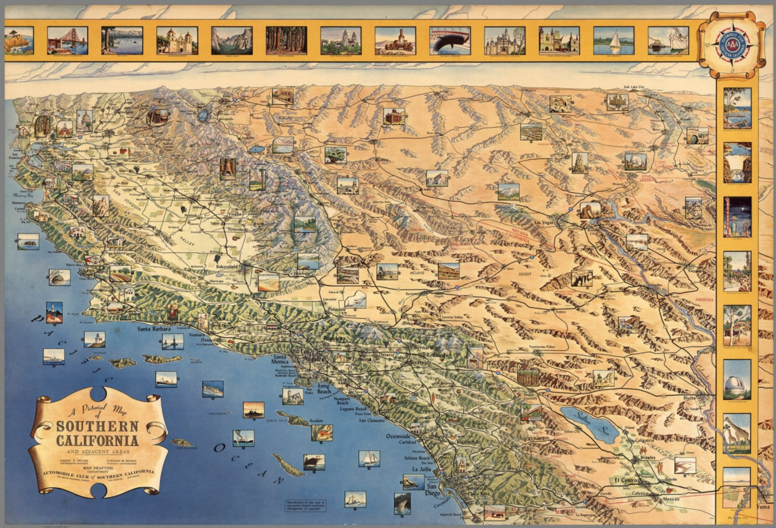 A Pictorial Map Of Southern California And Adjacent Areas David - Southern ca map