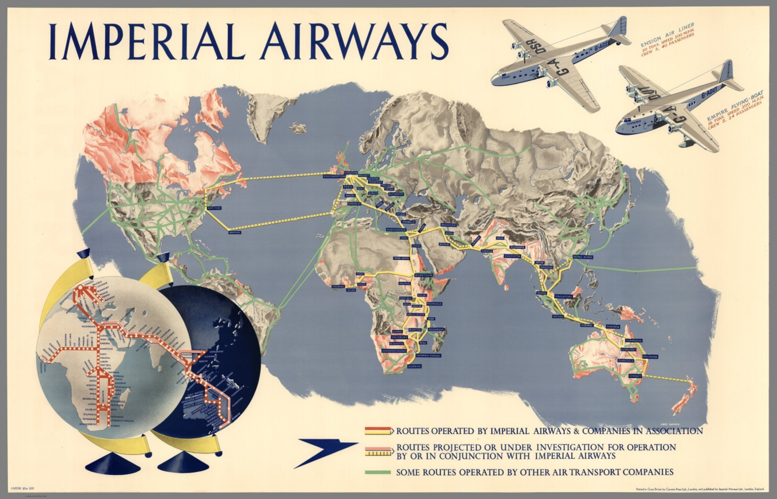 Imperial Airways Map Of The World IAP M David - World map p