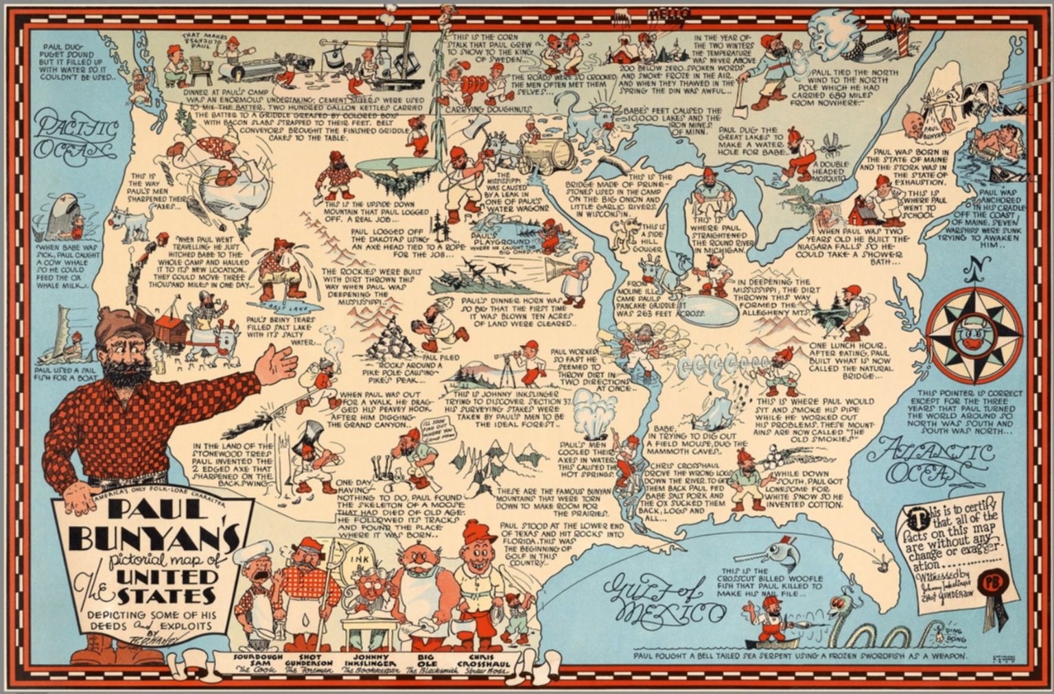 Paul Bunyans Pictorial Map Of The United States David Rumsey - Paul bunyan in us map