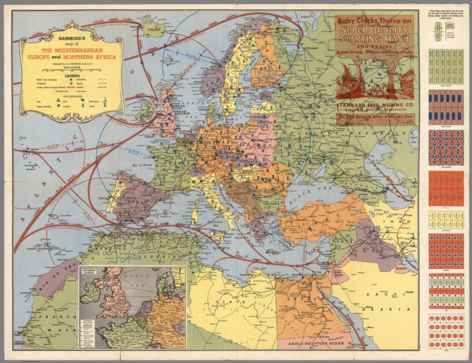 Hammonds Map of The Mediterranean Europe and Northern Africa
