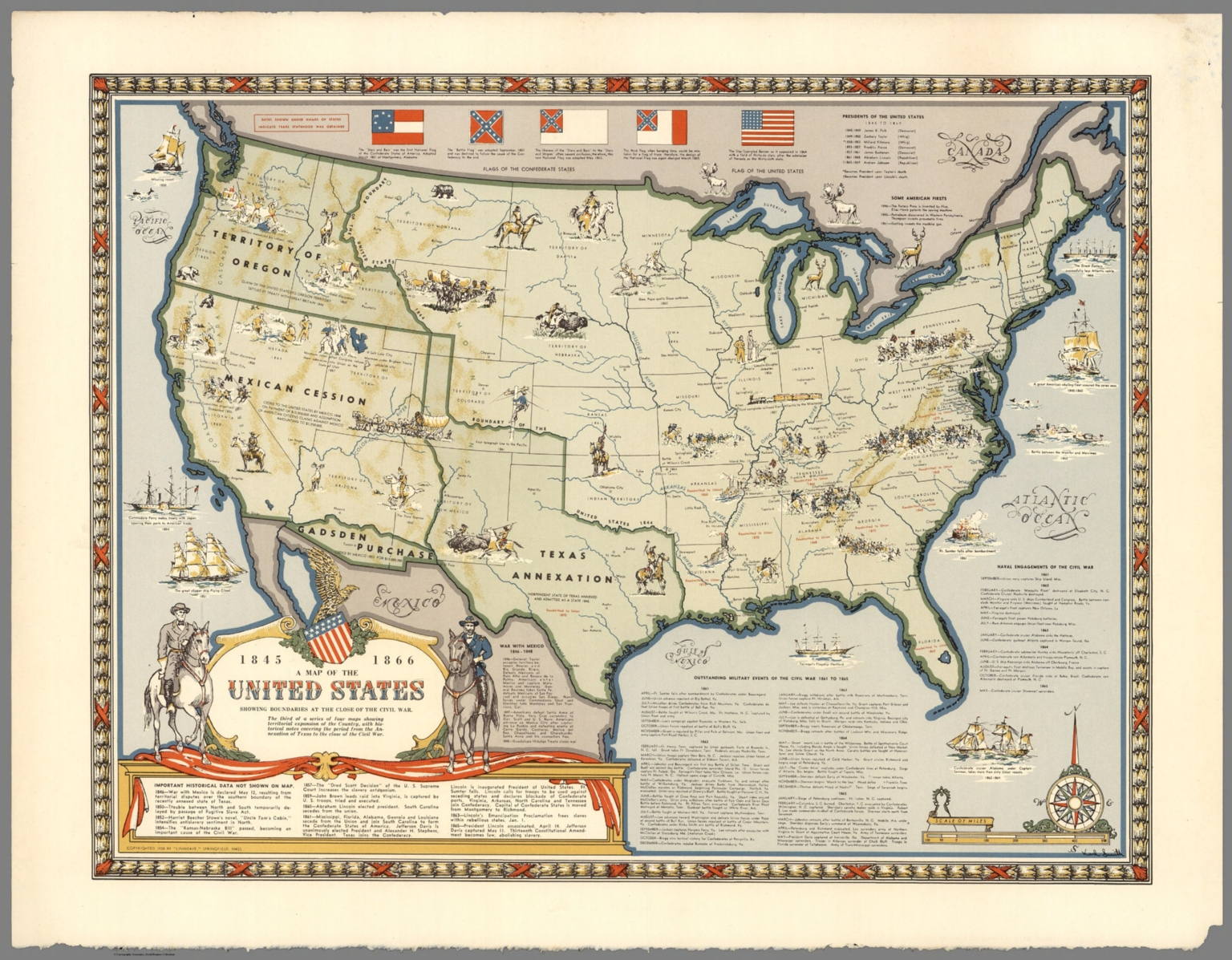 Map of the United States Showing Boundaries 18451866 David