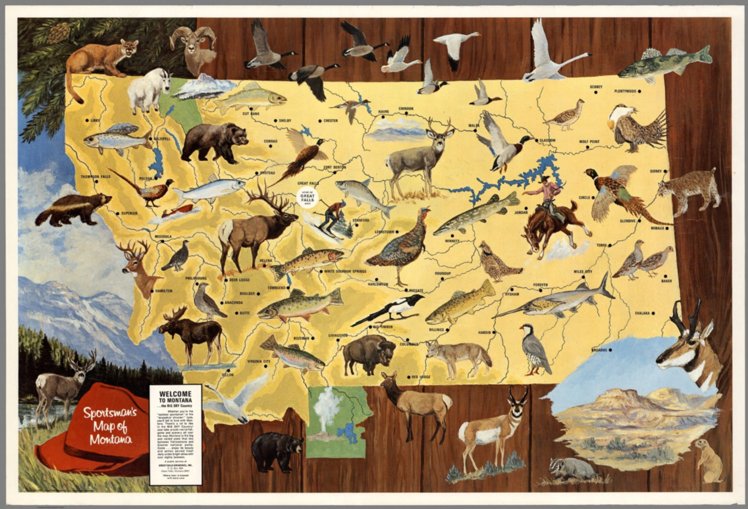 Sportsmans Map Of Montana David Rumsey Historical Map Collection - Map of montana