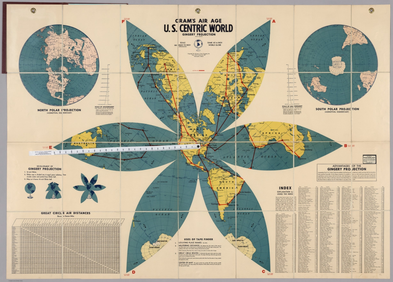 Crams Air Age US Centric World Gingery Projection North And - Us centric map