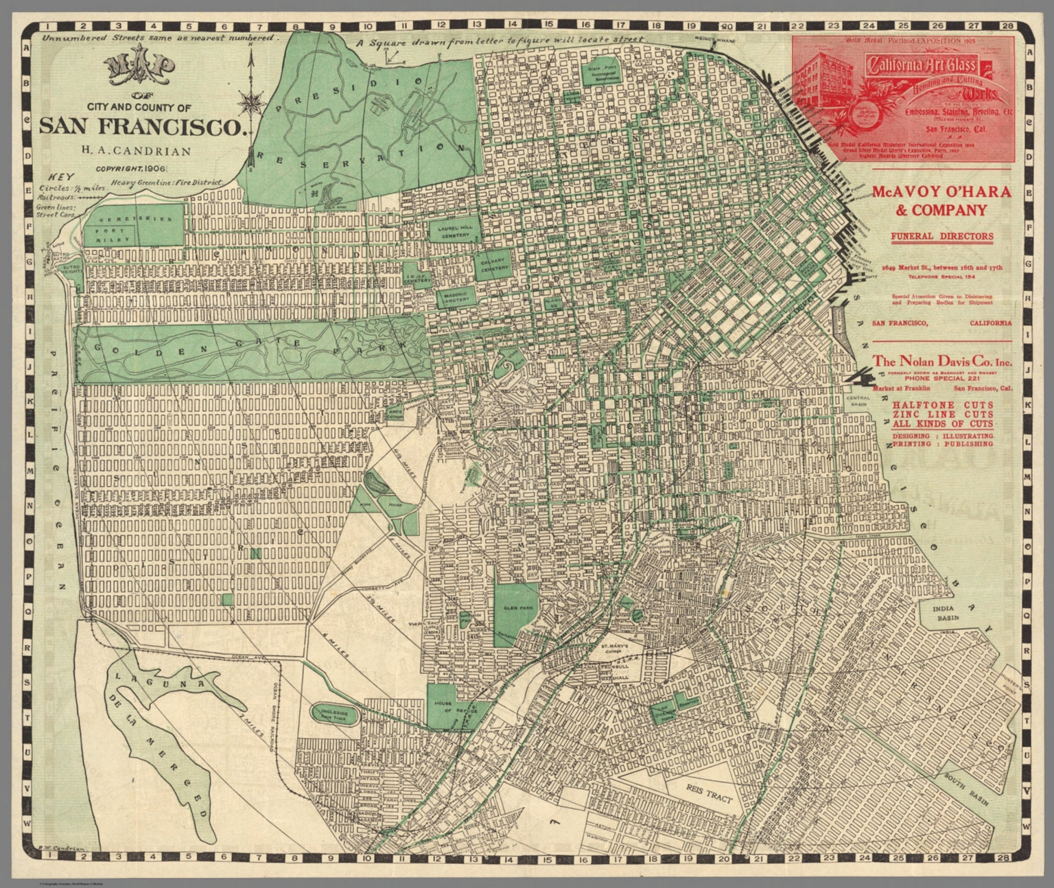 Map of city and county of San Francisco HA Candrian Copyright