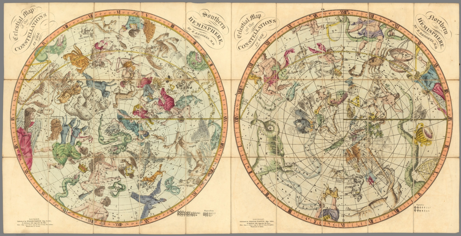 Celestial maps of the constellations in the Northern and Southern
