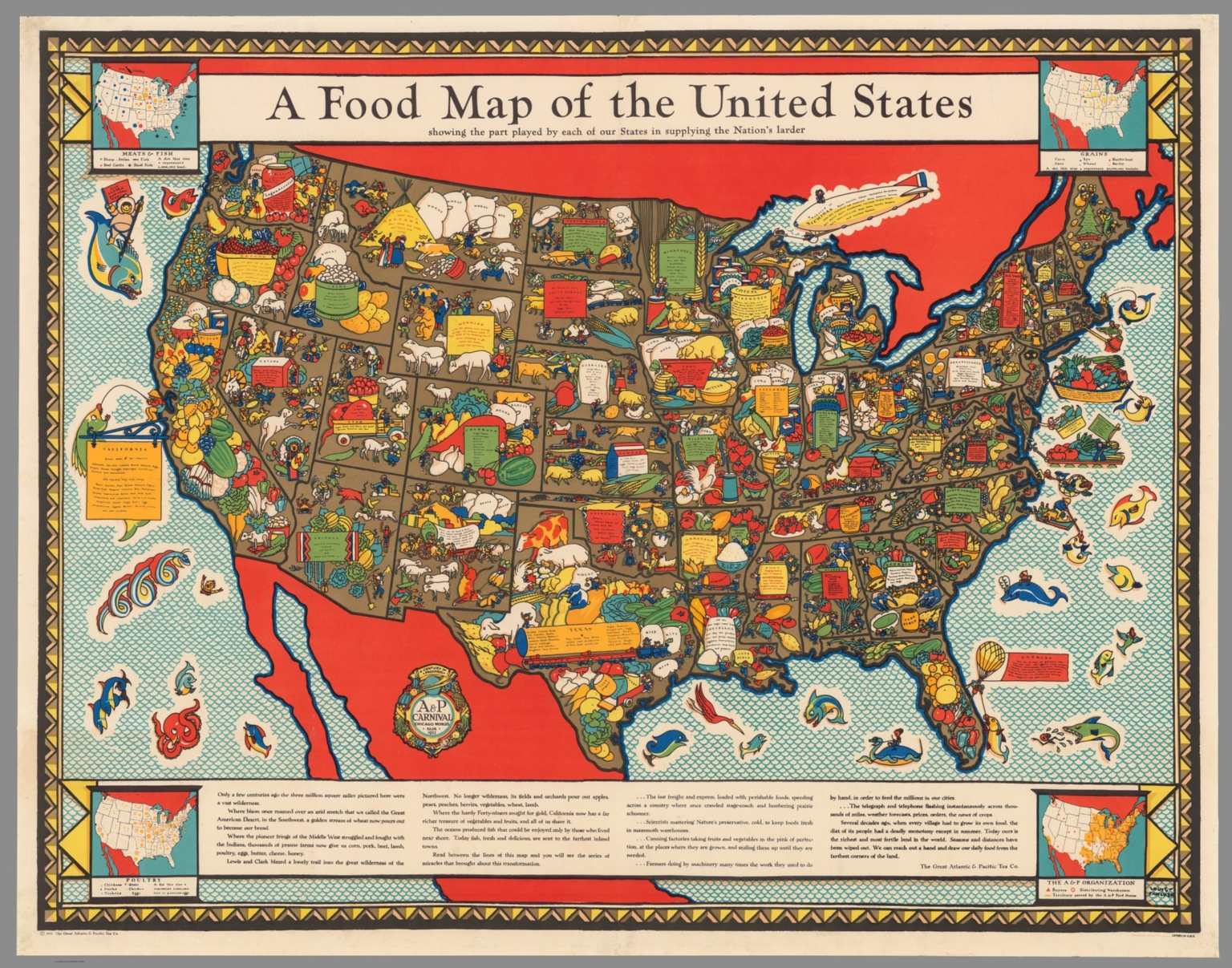 A food map of the united states david rumsey historical map a food map of the united states sciox Image collections